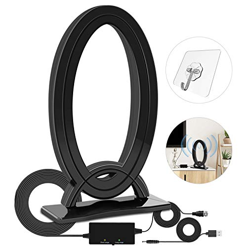 HDTV Antenna Indoor -Amplified Digital TV Antenna Long Range 120 Miles with Powerful Amplifier Signal Booster 2020 Latest Support 4K HD VHF Uhf Local TV Channels with 16ft Coax Cable USB Power Supply