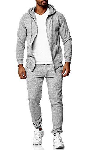 Baxboy Herren Uni Colour Jogging Anzug Trainingsanzug Sportanzug Fitness Sporthose Hose Hoodie H-500, Farbe:501_Grau, Größe:2XL