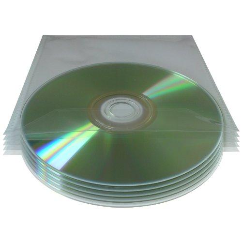 Lot de 200 pochettes plastiques pour CD/DVD avec rabat Transparent Épaisseur 80 µm