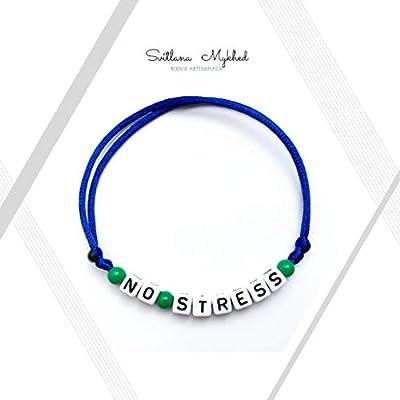 Bracelet NO STRESS personnalisable avec prénom, message, logo, surnom (réversible) pour homme, femme, enfant. Création sur mesure! Bijoux avec lettres d'alphabet A - Z (couleurs aux choix)