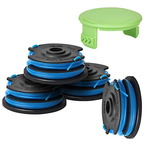 Generep Weed Eater Dual Line String Trimmer Replacement Spool for Greenworks .29242/29082 27ft 065-Inch Dual Line,Compatible with Greenworks Models 21212 and 21272 (4 Spools, 1 Cap)