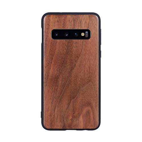 iATO Samsung Galaxy S10 Plus Wood Case. Unique & Classy Real Natural Dark Walnut Wood Samsung Galaxy S10 Plus Case Wooden Grain {Fully Protective Shockproof Tough Black Bumper - No Screen Protector}
