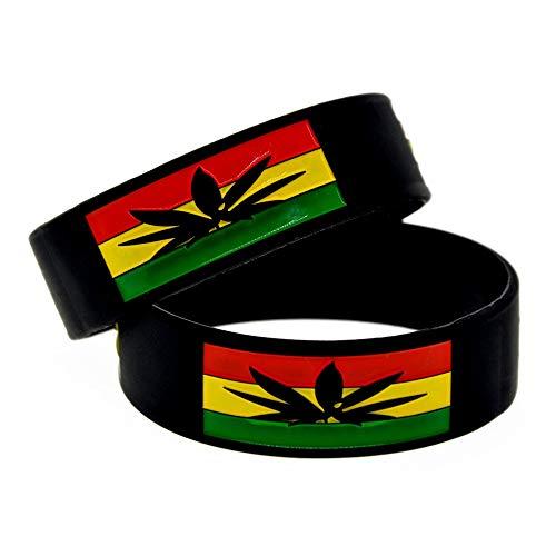 Xi-Link Pulsera Jamaica Hoja Suave De Silicona Pulsera 1 Pulgada Pulsera De Moda De Hip-Hop con La Mano For Colorear (Color : Black)
