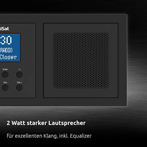TechniSat DIGITRADIO UP 1 - DAB+ Unterputzradio zur Anbringung in jeder Doppel Unterputzdose (DAB, UKW, Bluetooth-Empfang, dimmbares LCD-Display, Wecker, Sleeptimer, 2 Watt RMS, Equalizer) schwarz