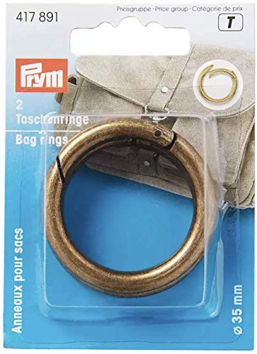 Prym 35 mm Bag Rings, Antique Brass