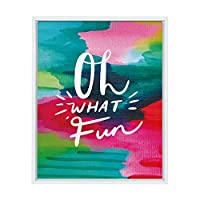 Kate and Laurel Sylvie Oh What Fun Framed Canvas Wall Art by Jessi Raulet of Ettavee, 18x24 White, Holiday Inspired Colorful Art 141[並行輸入]