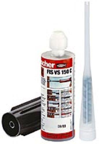 fischer 502494 Multifunktionsmörtel 150 C K, Inhalt: 1 Kartusche FIS VS (145 ml), 2 x Statikmischer