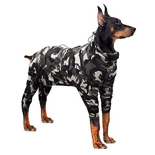 Hund kirurgisk återhämtning dräkt åska tröjor för hundar långärmad håll hunden från att slicka magsår skydd e-krage alternativ efter kirurgi slitage husdjur leverantör (XL, kamouflage)
