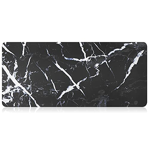 SAMONPOW Leather Mouse Pad Gaming Surface Large Size Optimized Both for Gaming and Office 35x16'' Black