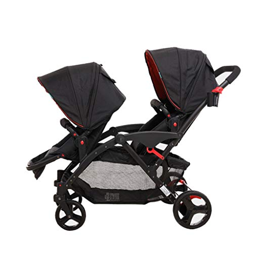 Standardkinderwagen Doppel-Kinderwagen, verstellbarer faltbarer Kinderwagen, mit Regenschirm, Doppeltrolley Baby Kinderwagen Buggys (Color : E)