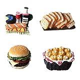 Bella 4pcs Mini Imanes para Refrigerador Nevera Fridge Magnet Sticker Frigerator Imán Pan de Queso Hamburger Cream Puff Encantador