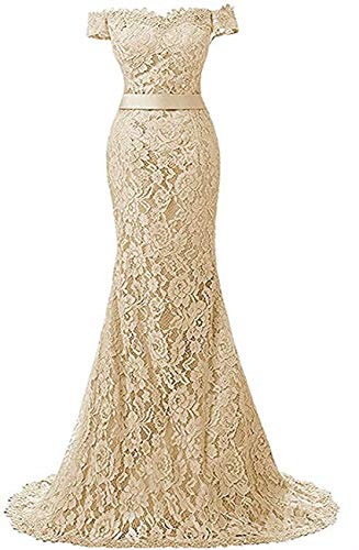 Yuxin Elegant Lace Mermaid Wedding Dresses Long Formal Evening Party Bridal Gowns Champagne US14