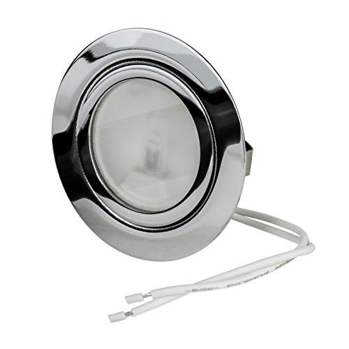 Möbeleinbauleuchte | 12Volt AC G4 20Watt Leuchtmittel inklusive (dimmbar) | Bohrloch: 55-58mm - Außendurchmesser: 71mm - Einbautiefe: 30mm | Leuchtmittel austauschbar - auch für LED geeignet