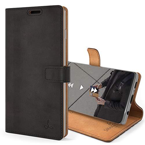 Snakehive S10 Plus Schutzhülle/Klapphülle echt Lederhülle mit Standfunktion, Handmade in Europa für Samsung Galaxy S10 Plus (Schwarz)