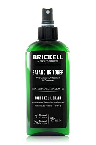 Brickell Men's Balancing Toner For Men, Natural and Organic Alcohol-Free Cucumber, Mint Facial Toner with Witch Hazel, 8 Ounce, Scented