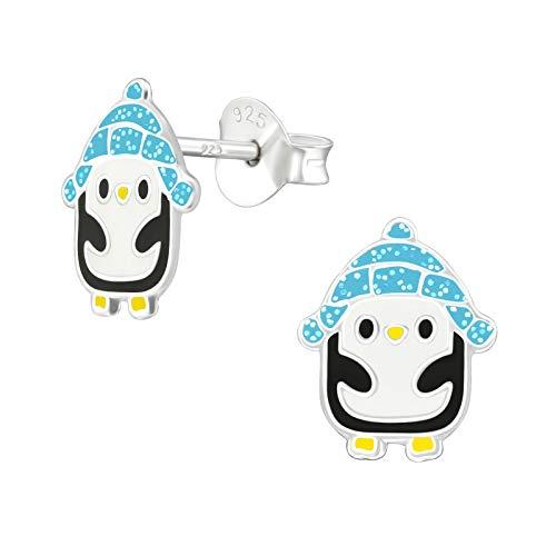 Monkimau Oorstekers voor meisjes, pinguïn van 925 sterling zilver, echt zilver, met muts