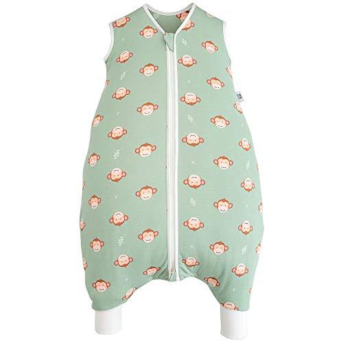 Hosenmax Premium Babyschlafsack mit Beinen – Bio Baumwolle & Baumwollfüllung– entspricht TOG 2,5 – Ganzjahres Schlafsack Baby – Frecher Affe Größe 100 cm