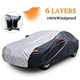 XicBoom Sedan Car Cover 6 Layers, Waterproof All Weather Car Cover with Zipper Door, Indoor/Outdoor Full Cover, Sun Rain Snow UV Protection with Cotton, Fit Sedan-Length (190' to 209')