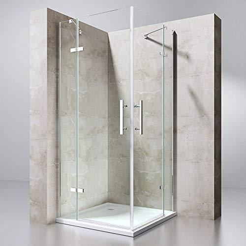 Duschkabine 80x140 Eckeinstieg Komplett Duschtasse ESG Lotus-Effekt NANO R30 Echtglas in Klarglas