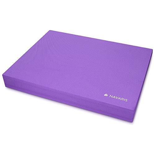 Navaris colchoneta de coordinación - Plataforma de Equilibrio para Ejercicios de Yoga y Pilates - Cojín Fitness 50 x 39 x 6.5CM - Almohadilla Morado