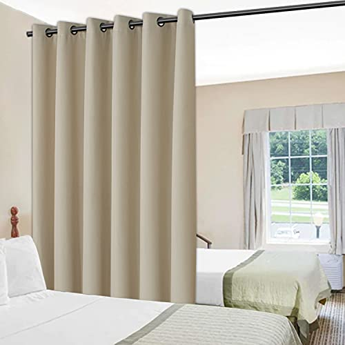 BONZER Room Divider Curtain Privacy Wall Screen Partitions Grommet Top Wide Curtains for Bedroom Living Room Patio Sliding Door, 8.3ft Wide x 7ft Tall, 1 Panel, Black