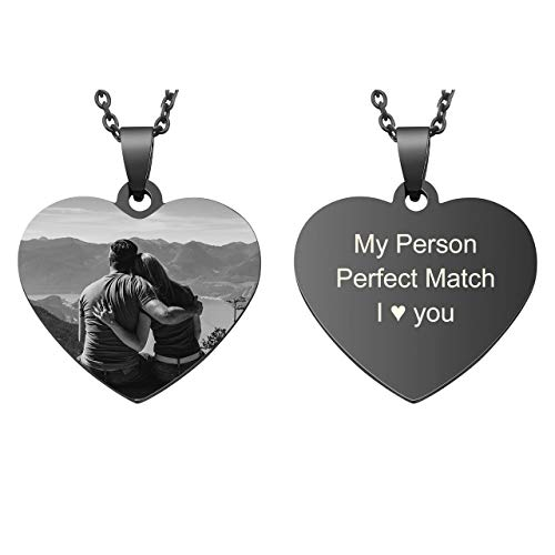 Jovivi Personalized Photo Necklace Custom Heart Dog Tag Pendant with Picture Engraved Text for Family Best Friends Pet Valentines Day Anniversary Memorial Gifts