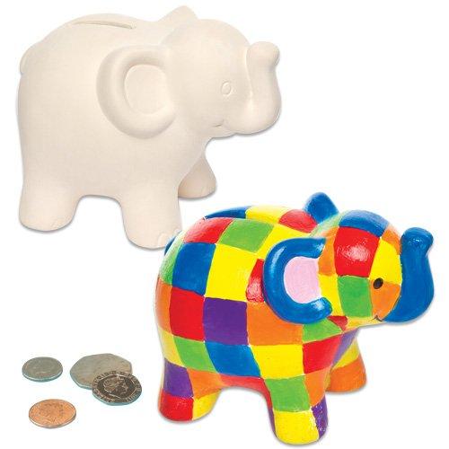 """Baker Ross AG700 Keramik-Spardosen """"Elefant"""" für Kinder zum Basteln, Bemalen, Dekorieren und Verschenken (2 Stück)"""