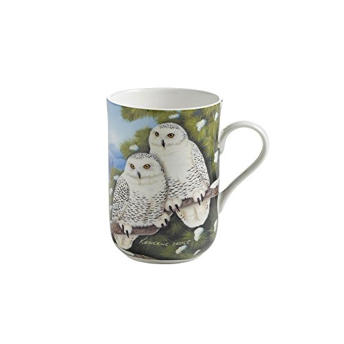 Maxwell & Williams PBW1005 Birds of the World Becher, Kaffeebecher, Tasse mit Vogelmotiv: Schneeeule, in Geschenkbox, Porzellan