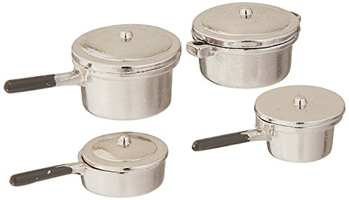 Darice Party Supplies, Miniature Silver Stovetop Cookware, 8 Each