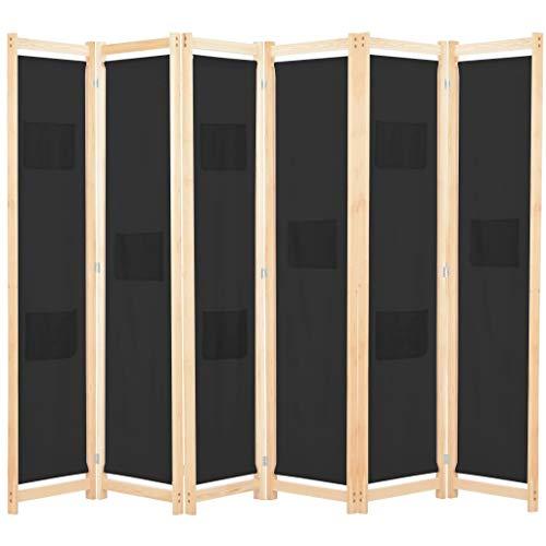 Tidyard 6-teiliger Raumteiler Trennwand Paravent Wand für Wohnung Wohnzimmer Badmöbel Mit 9 Taschen auf den Paneelen,Abmessungen:240 x 170 x 4 cm (L x H x T) Diverse -Farben