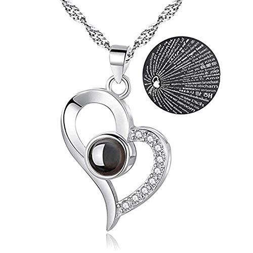 Beauth Personalized Necklace, I Love You Necklace 100 Languages Gift Set | Nano Jewelry Projection Necklace | Romantic Gifts for Her Pendent Memory Necklaces
