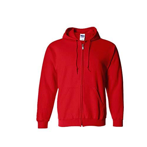 Sweats à Capuche,Printemps et Automne Nouveaux Hommes Veste décontractée à Capuche chez Les Adolescents Cardigan Zipper Pull Rouge XXL