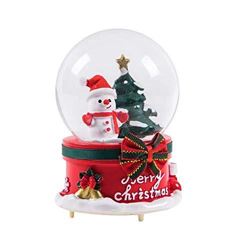 Bola de Cristal de Navidad Caja de música Nieve Flotante Campana de música Navidad y muñeco de Nieve Regalos...