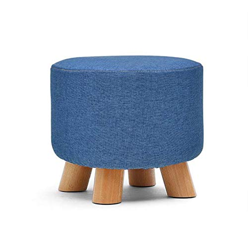 YLLHK Modern Creative Home Round Wooden Stool, Living Room Footstools, Sofa Stool with Removable and Washable Fabric Cushion, Suitable for Kitchen, Bedroom, Garden, Workplace,Blue