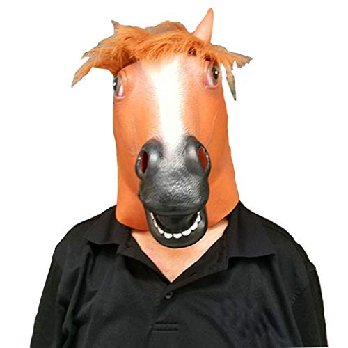 NLBZ Pferdekopf-Maske Tierkopfbedeckung Halloween Brown Pferd Latex-Masken-Halloween-Party-Dekoration