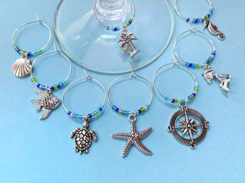Caribbean Beach Themed Wine Charms, Gift for Island Beach Getaway, beach themed, Tropical Vacation, Summer by the Sea, Set of 8. SEA GLASS BEADS.