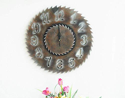 MWPO Vintage Holzgetriebe Sägeblatt Uhr, Wandaufkleber Wanduhr, B, 40 * 40 * 3,5 cm
