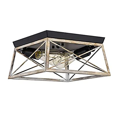 Pauwer 2 Light Flush Mount Ceiling Light Industrial Rustic Ceiling Light Fixture with Square Metal Cage Shade Ceiling Lighting for Entry, Hallway, Bedroom, Bathroom, Faux Wood Finish