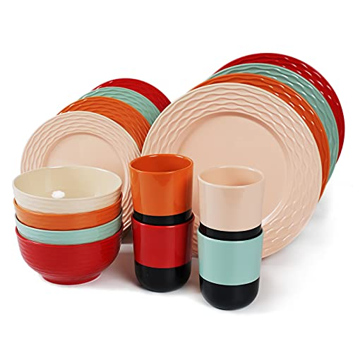 Melamine Dinnerware Set for 4-16 Pcs:Camping Dishes Set with Dinner Plates,Salad Plates,Cups and Bowls.Lightweight and Unbreakable.Indoor and Outdoor Use.