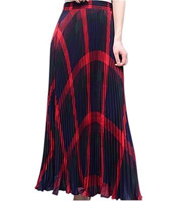 Medeshe Women's High Elastic Waist Maxi Skirt A-line Plaid Winter Warm Flare Long Skirt