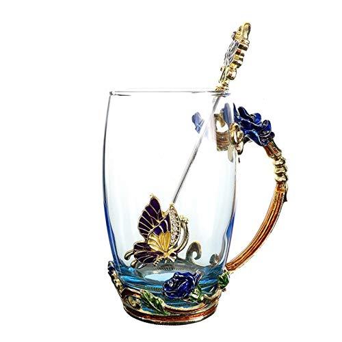 Taza De Cristal De Cristal De Cristal De La Taza De La Taza De La Flor del Esmalte De La Rosa con La Taza De La Flor De La Taza De Cristal De Alto Grado con La Boda del Amante