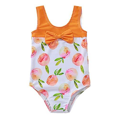 Baby Mädchen Badebekleidung Sommer Bogen Pfirsich Gedruckt Bikini Badeanzug