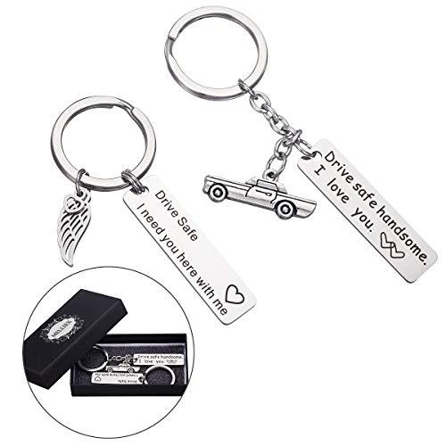 Drive Safe Schlüsselanhänger Fahr Vorsichtig Schlüsselbund Auto Anhänger Für Trucker Vater Ehemann Mann Freund Fahrer, 2 Stücke