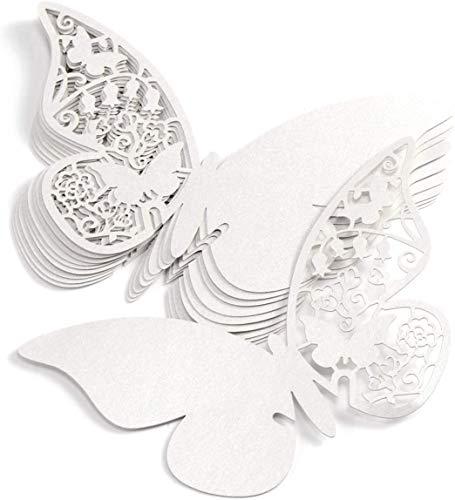 Tarjetas Etiquetas Decorativasen Forma de Mariposa Flor Para Tarjetas Con Forma de Mariposa Para Escribir el Nombre de Los Comensales de Una Boda, Colocar en Copas de Vino