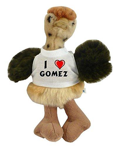 Avestruz personalizado de peluche (juguete) con Amo Gomez en la camiseta (nombre de pila/apellido/apodo)