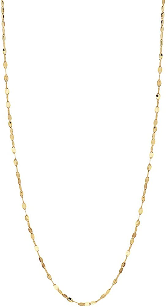 10K Solid Gold 2.0MM Diamond Cut Mirror Chain Necklace or Anklet - Unisex Sizes 10