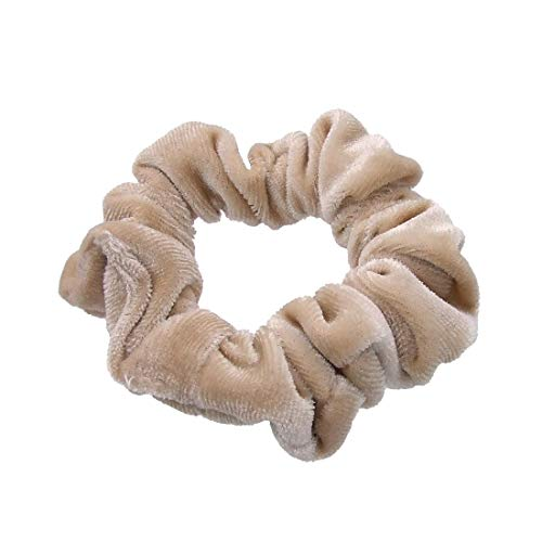 202-509 - Elastico per capelli Fermacoda velluto liscio spessore cm 2 e diametro cm 7 circa - Elastici per capelli (Beige)