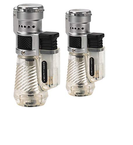 Vertigo by Lotus Cyclone Triple Torch Cigar Lighter Clear 2 Pack