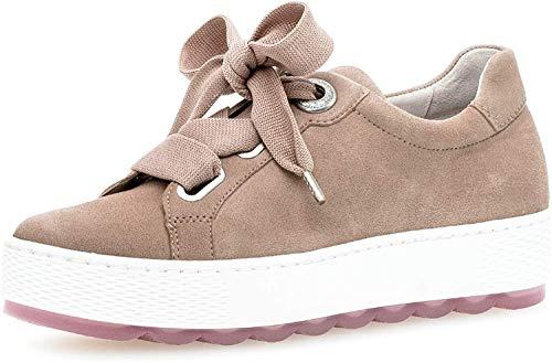 Gabor Damen Sneaker, Frauen Low-Top Sneaker,Comfort-Mehrweite,Optifit- Wechselfußbett, strassenschuh schnürer schnürschuh,antikrosa,38.5 EU / 5.5 UK