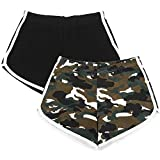 URATOT 2 Pack Cotton Sport Shorts Yoga Dance Short Pants Summer Athletic Shorts (Black, Army Green Camo, L)